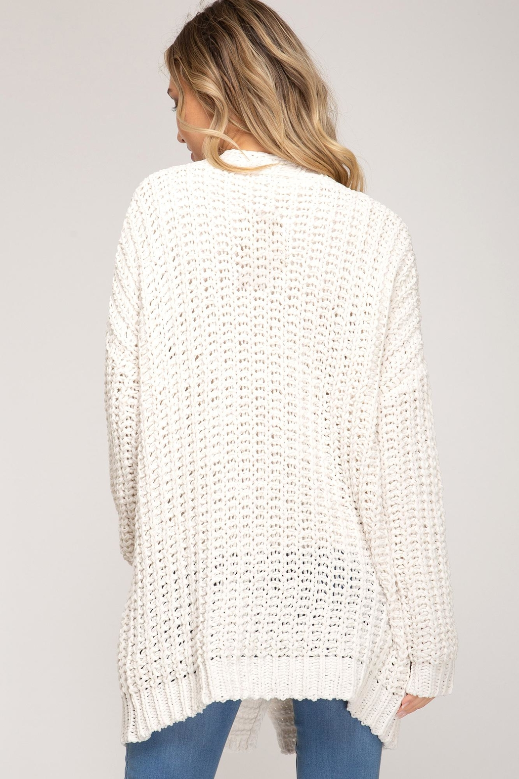 She + Sky Knitted Button-Down Cardigan - Front Full Image