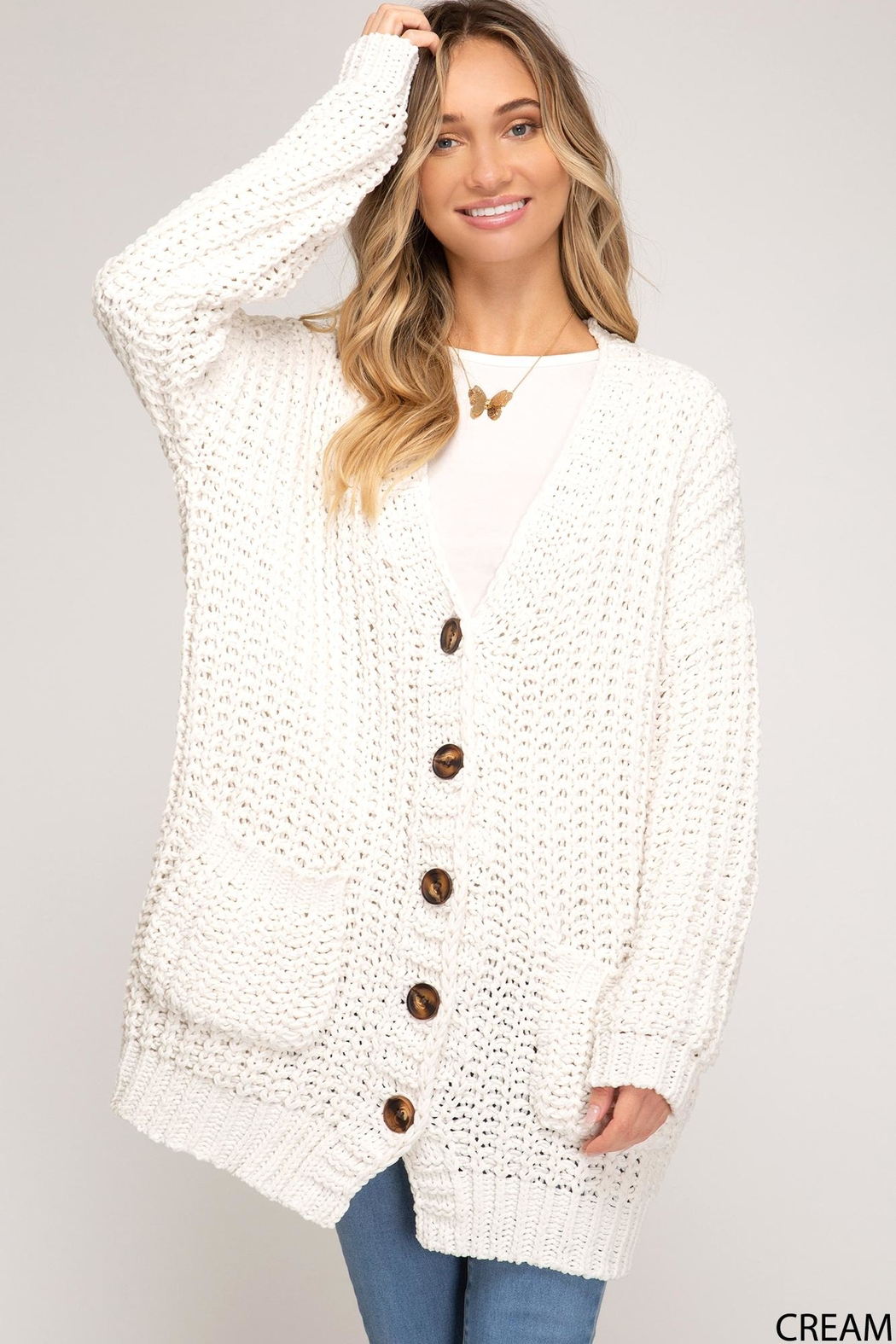 She + Sky Knitted Button-Down Cardigan - Main Image