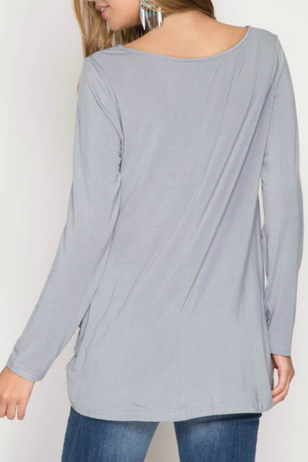 She + Sky Knot Front Tee - Front Full Image