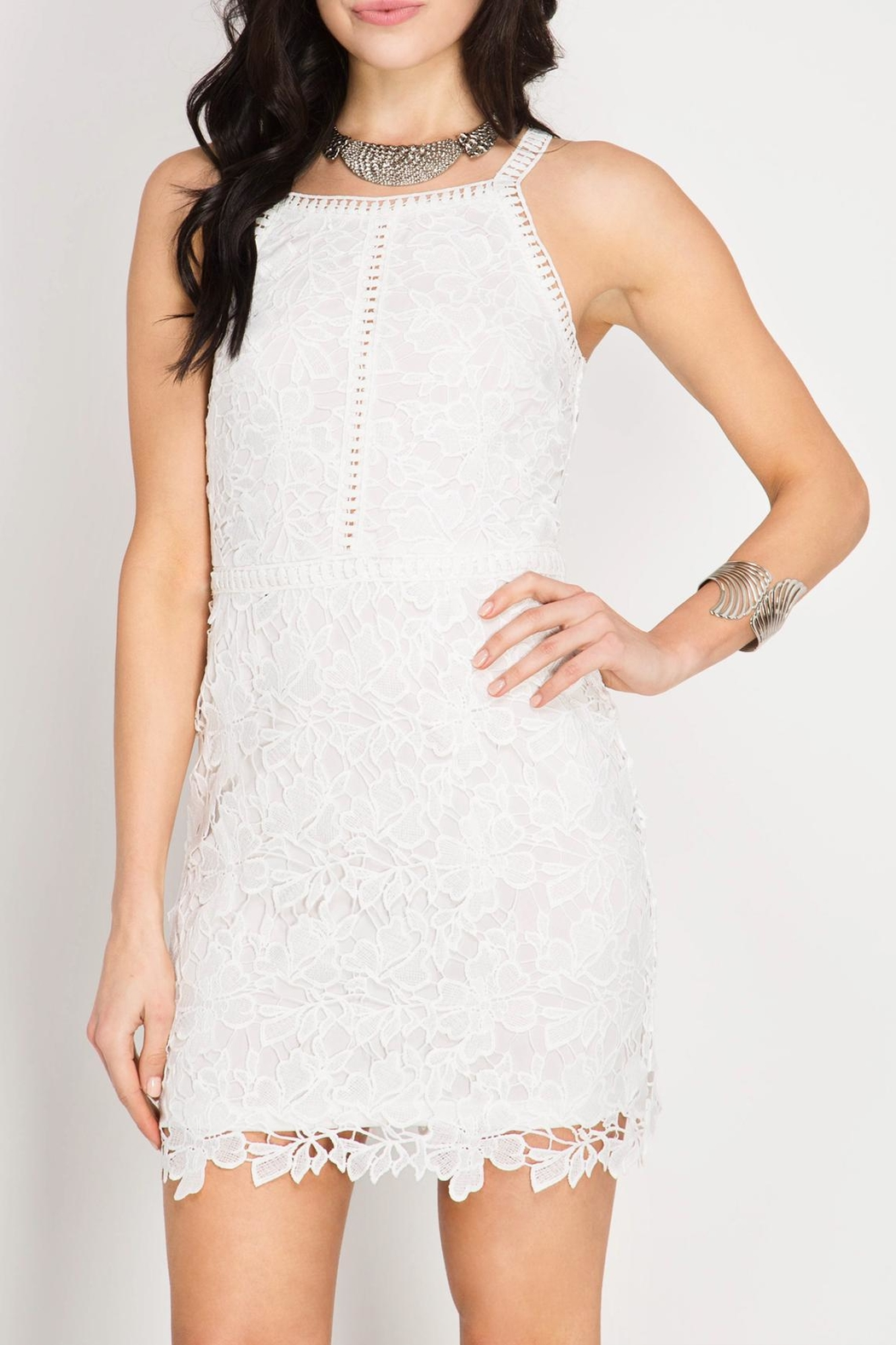 She + Sky Lace Bodycon Dress - Front Cropped Image
