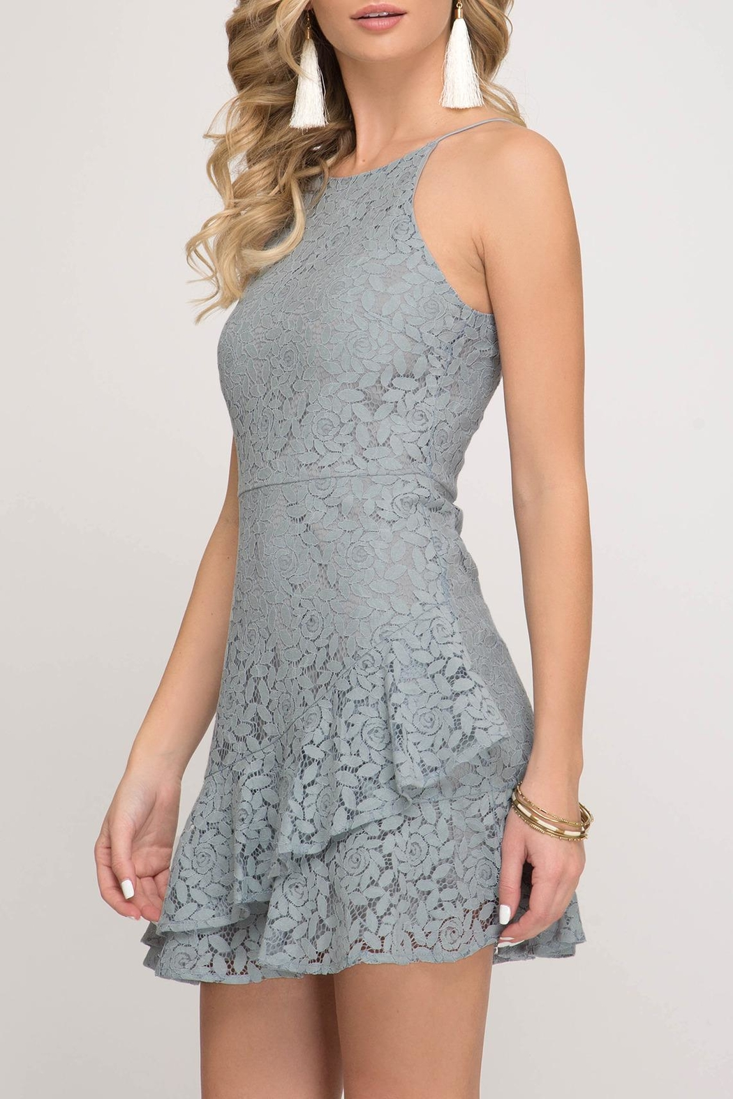 She + Sky Lace Cami Dress - Front Full Image