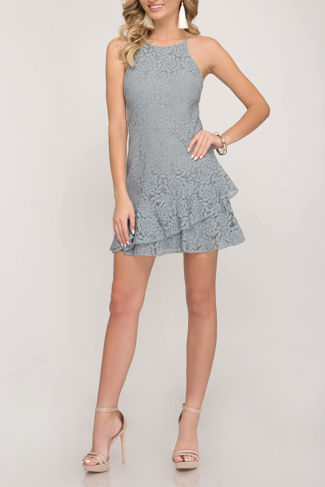 She + Sky Lace Cami Dress - Main Image