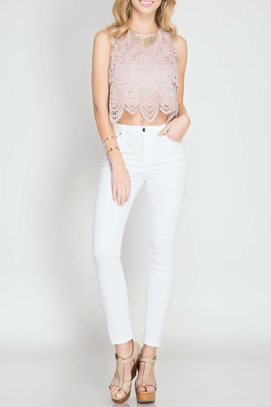 She + Sky Lace Crop Top - Front Cropped Image