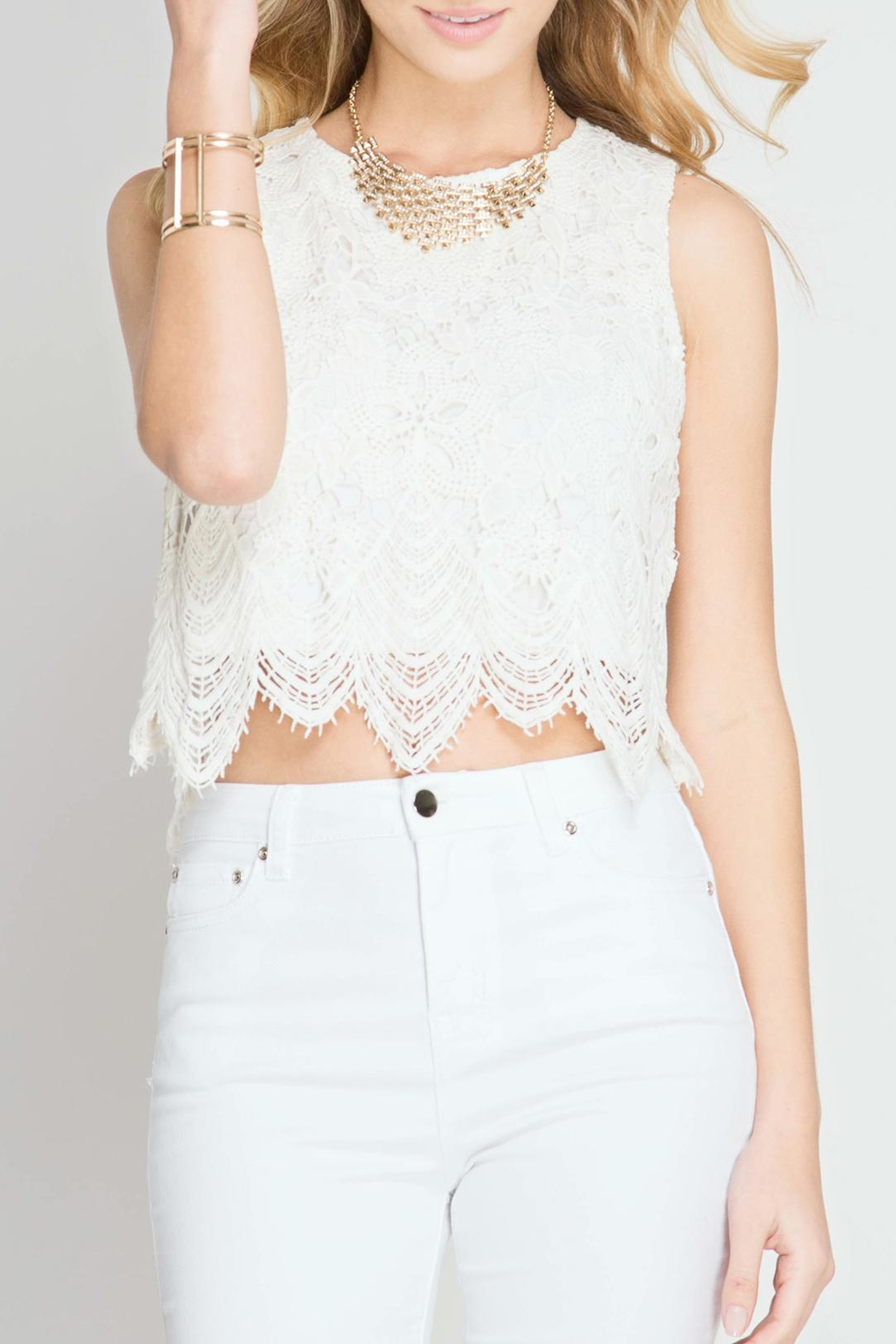 She + Sky Lace Crop Top - Main Image