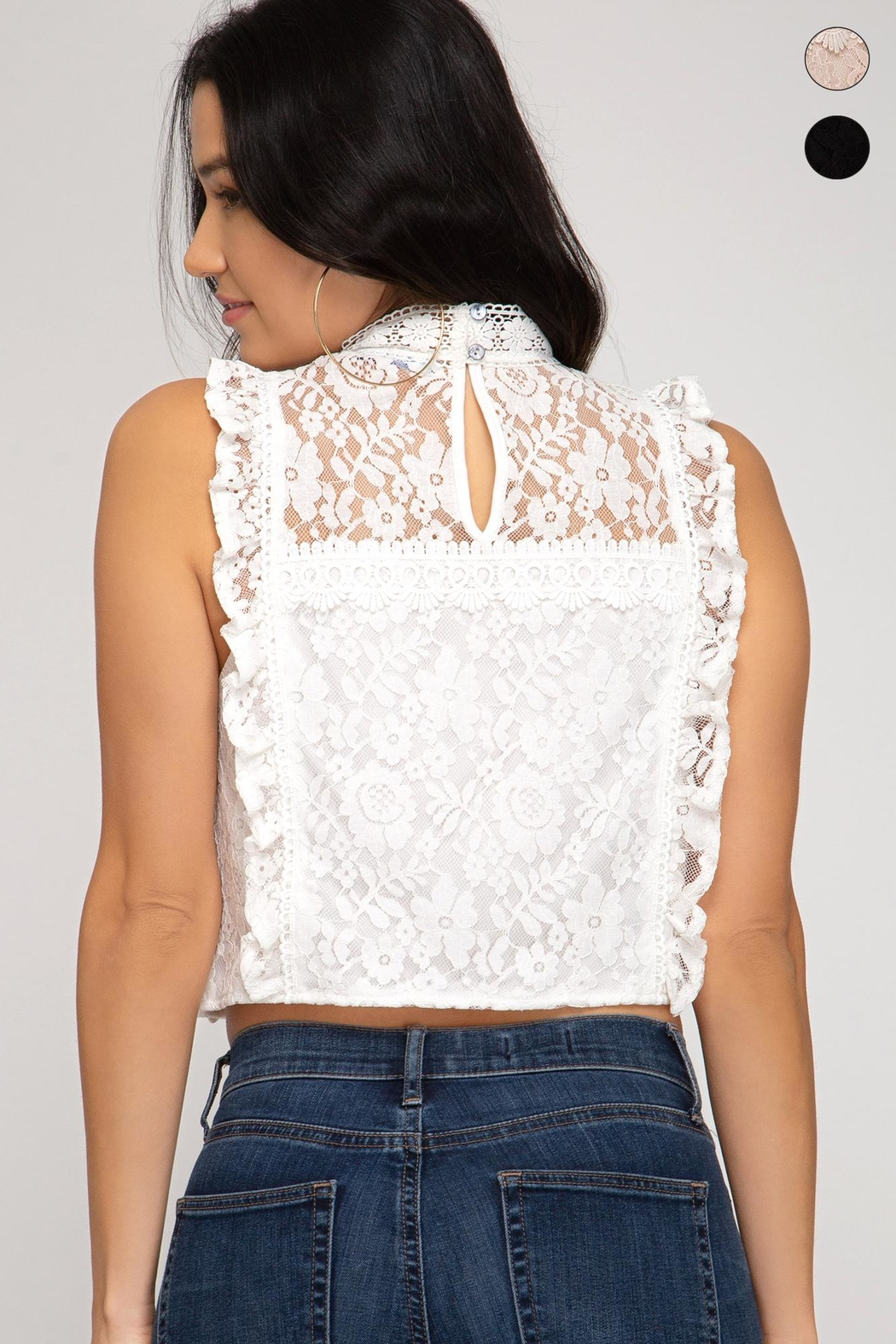 She + Sky Lace Crop Top - Front Full Image
