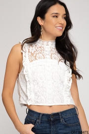 She + Sky Lace Crop Top - Product Mini Image