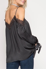 She + Sky Lace Detail Satin Top - Front full body