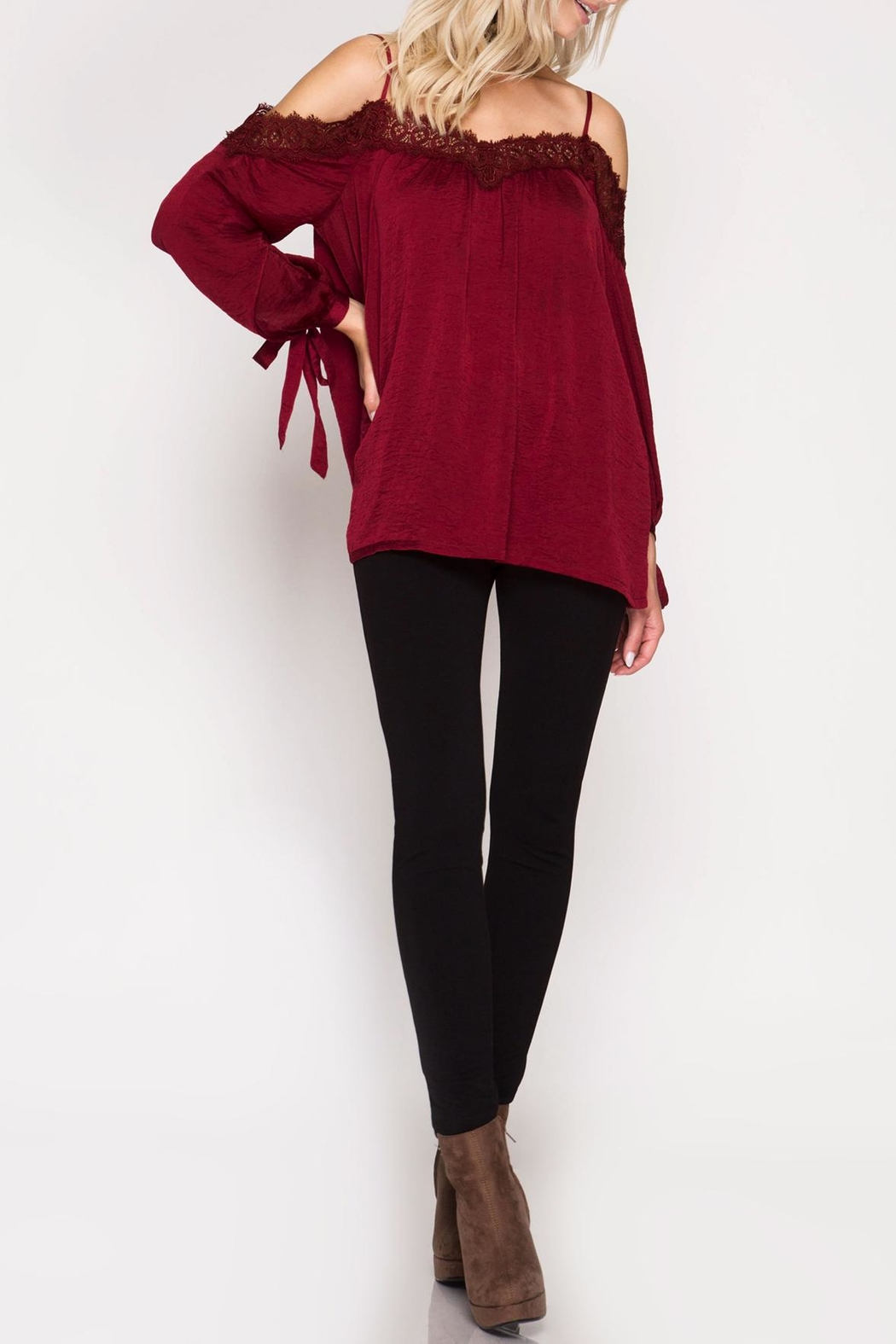 She + Sky Lace Detail Satin Top - Front Cropped Image