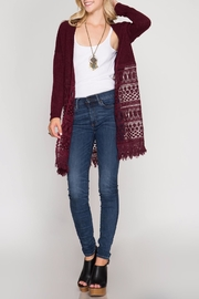 She + Sky Lace Fringe Cardigan - Product Mini Image