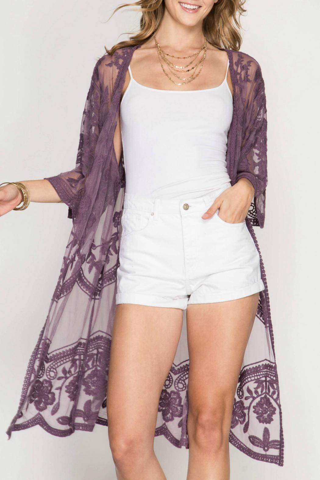 She + Sky Lace Kimono - Front Cropped Image