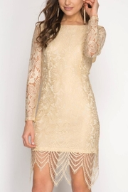 She + Sky Lace Open-Backed Dress - Product Mini Image