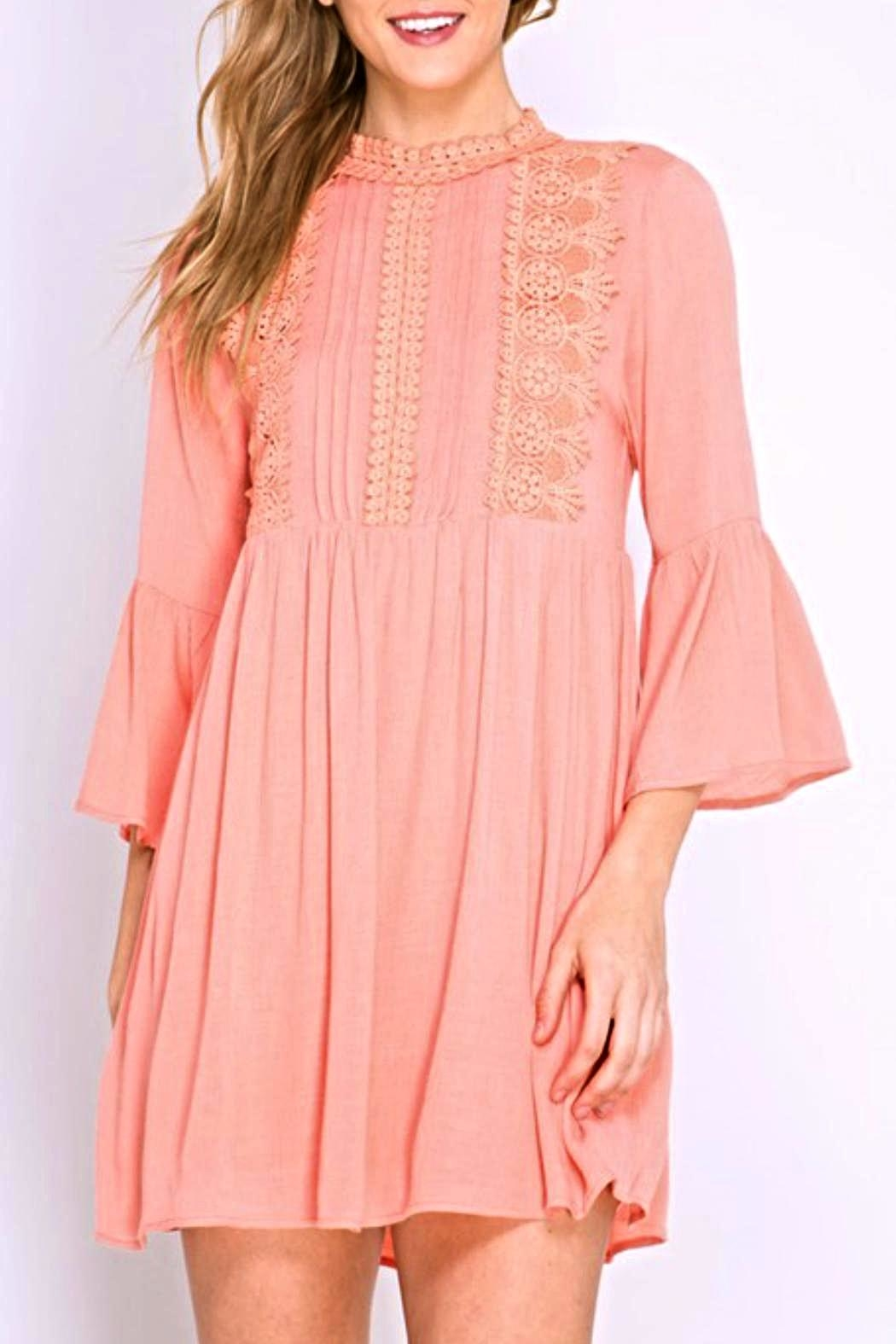 She + Sky Lace Pintuck Dress - Front Cropped Image