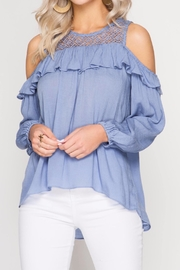 She + Sky Lace And Ruffle Top - Other