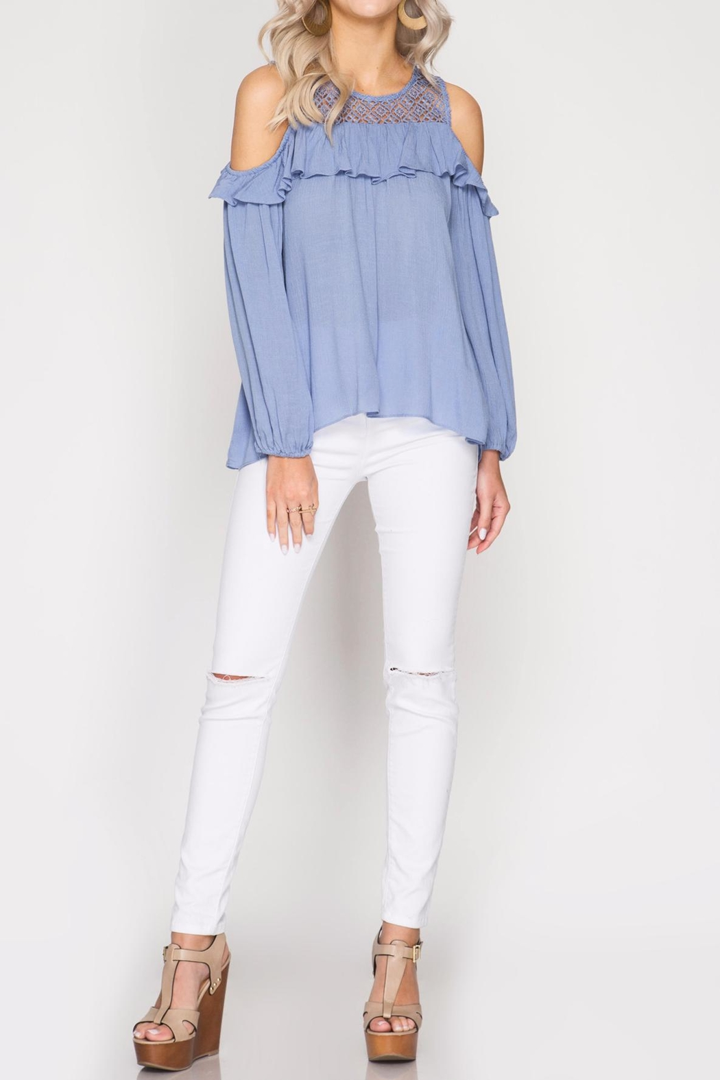 She + Sky Lace And Ruffle Top - Front Cropped Image