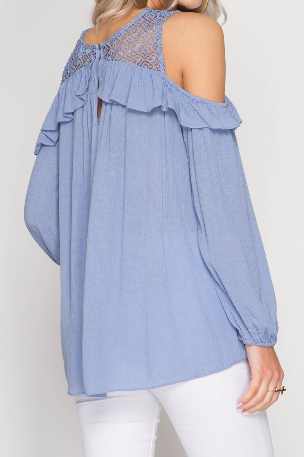 She + Sky Lace And Ruffle Top - Back Cropped Image
