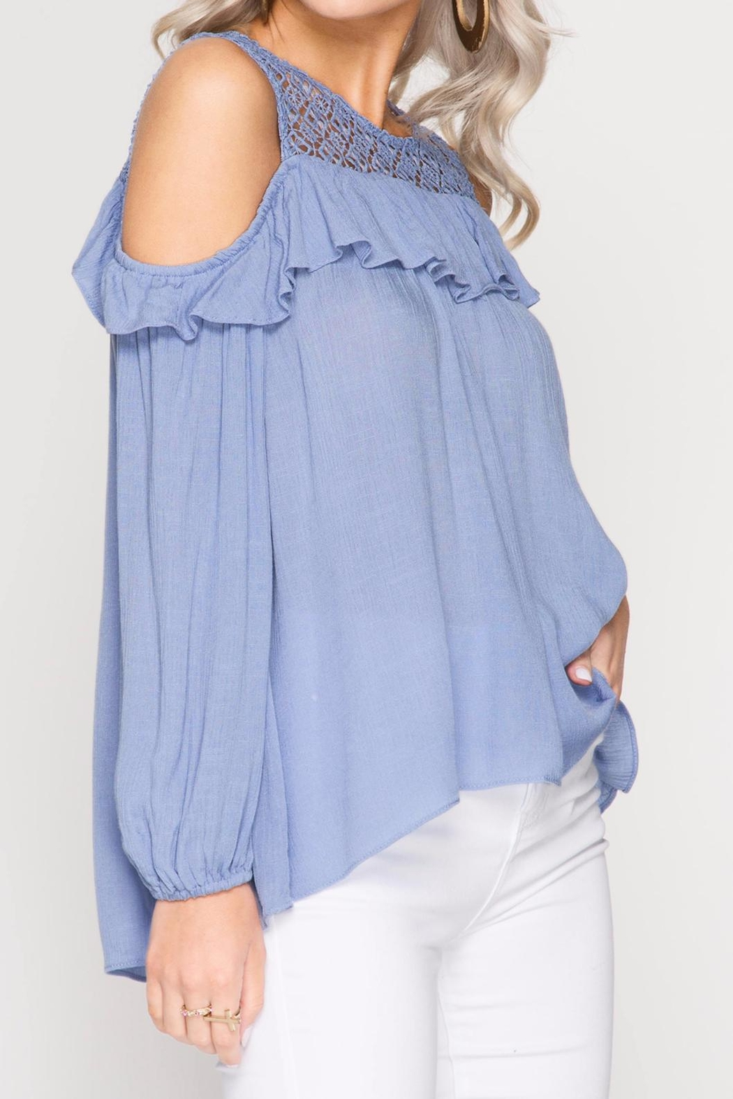 She + Sky Lace And Ruffle Top - Side Cropped Image