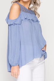 She + Sky Lace And Ruffle Top - Side cropped