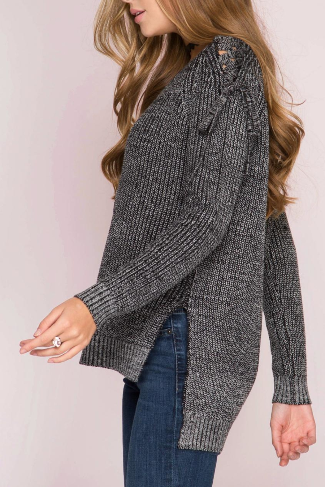 She + Sky Lace Shoulder Sweater - Front Full Image