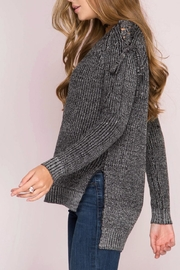 She + Sky Lace Shoulder Sweater - Front full body