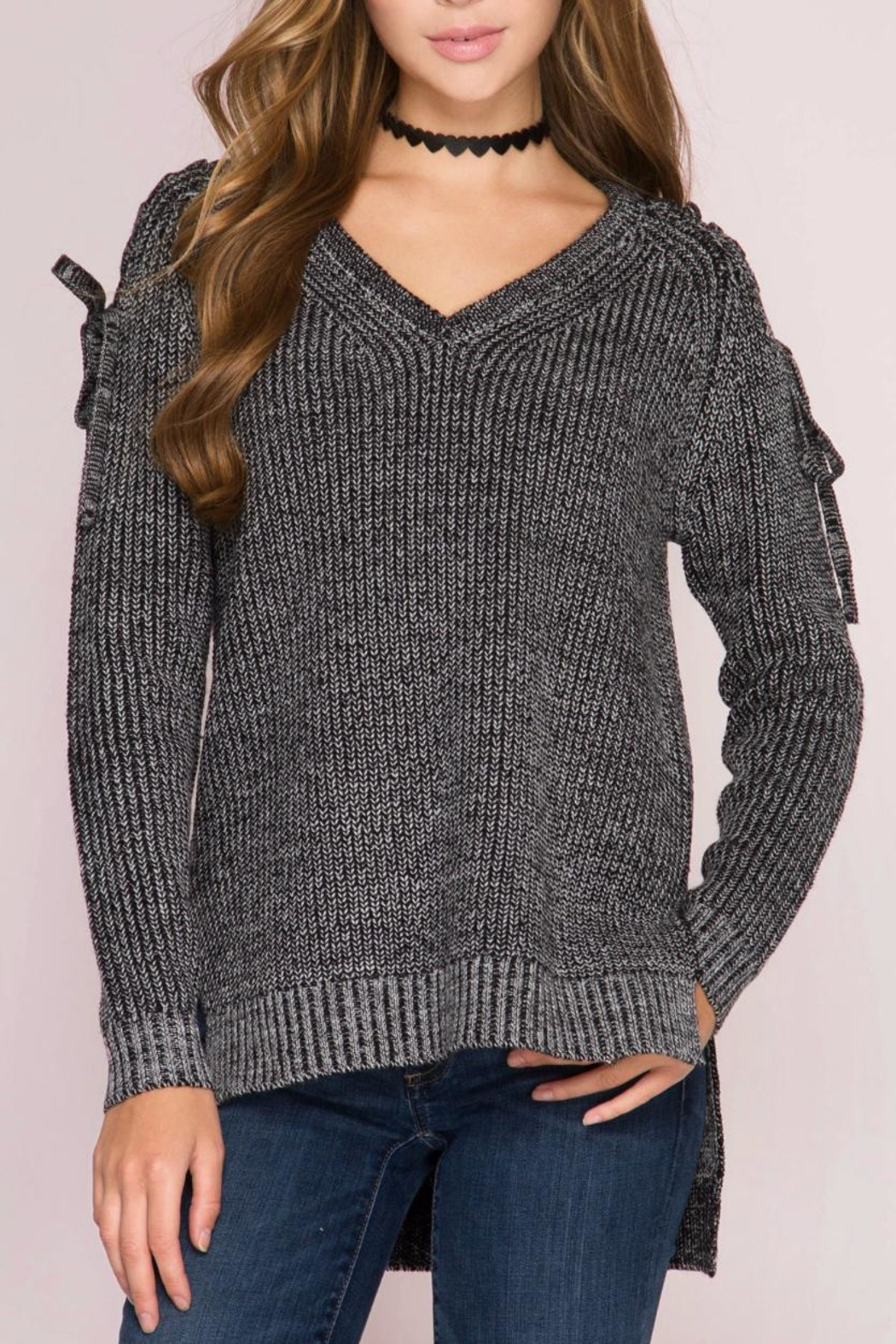 She + Sky Lace Shoulder Sweater - Main Image