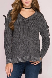 She + Sky Lace Shoulder Sweater - Product Mini Image