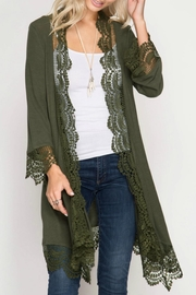 She + Sky Lace Trim Kimono Cardigan - Product Mini Image
