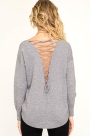 She + Sky Back Lace-Up Sweater - Product Mini Image