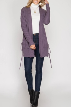 She + Sky Lace-Up Cardigan - Product List Image