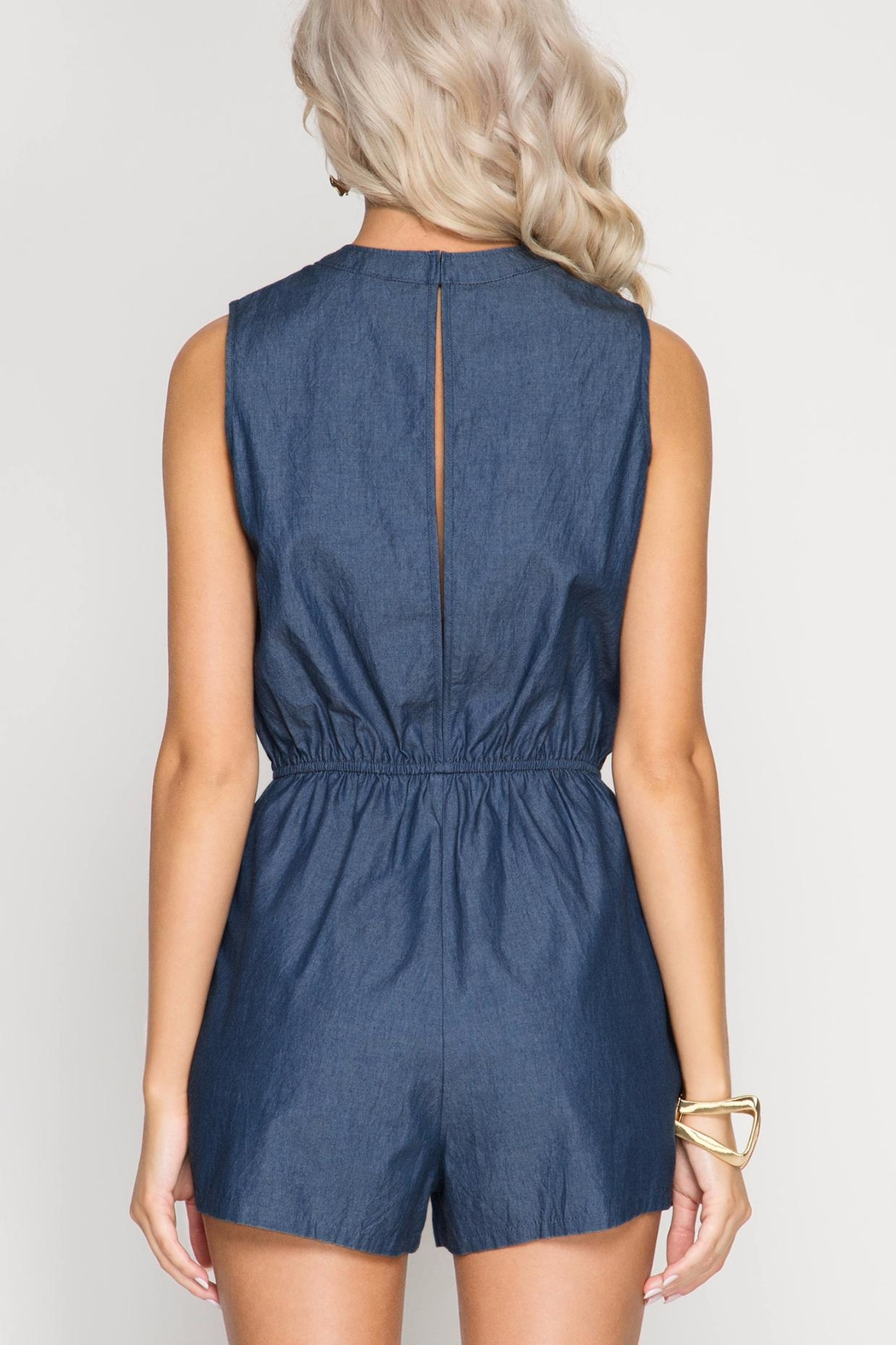 She + Sky Lace Up Chambray Romper - Side Cropped Image