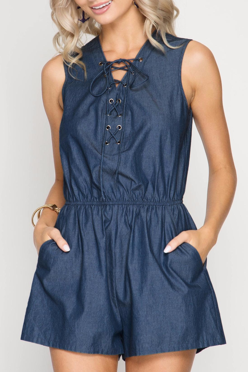 She + Sky Lace Up Chambray Romper - Main Image