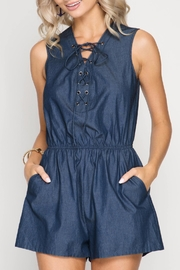 She + Sky Lace Up Chambray Romper - Product Mini Image
