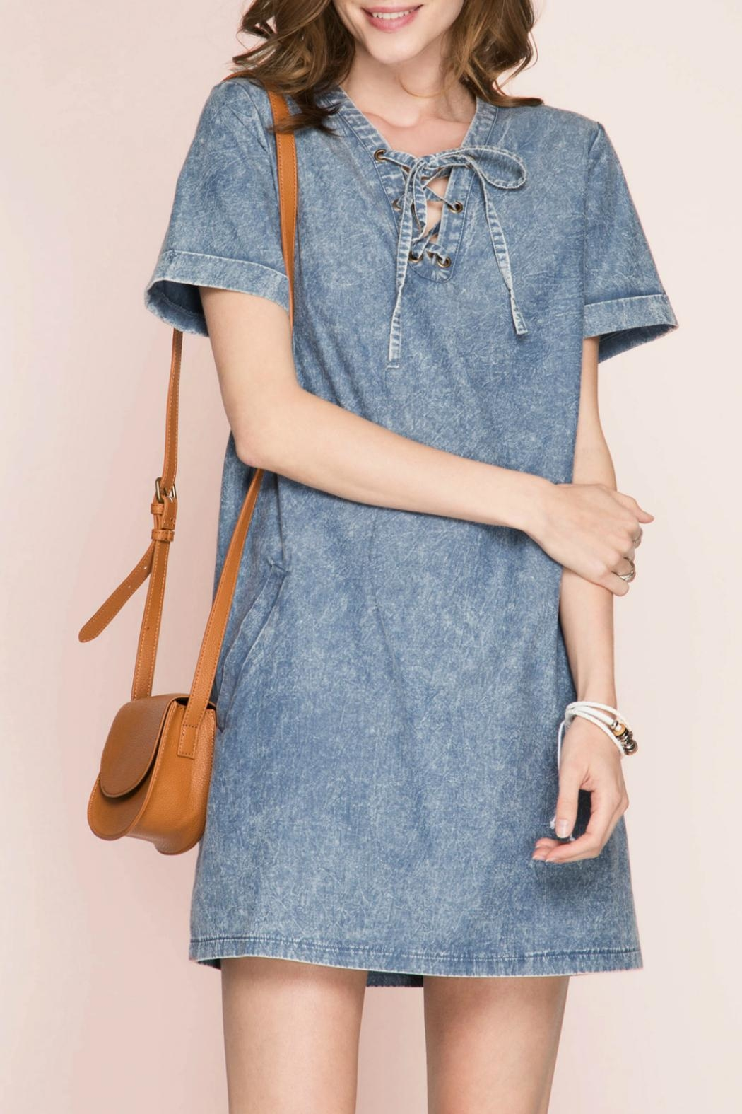 She + Sky Lace Up Denim Dress - Main Image