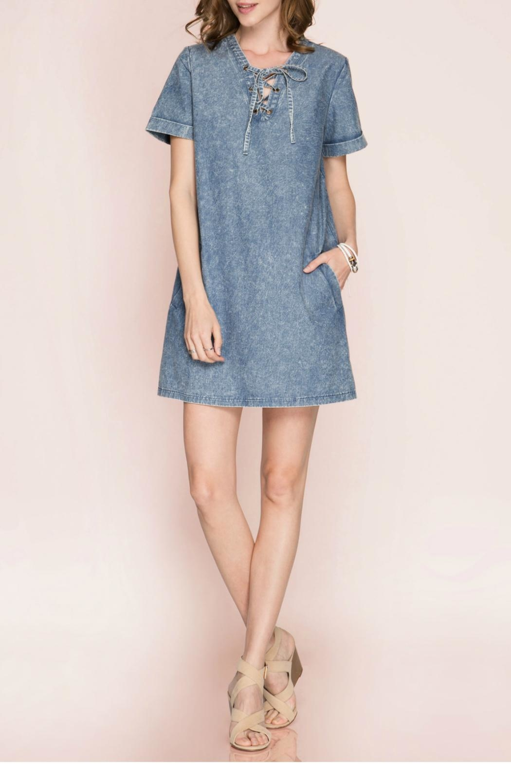 She + Sky Lace Up Denim Dress - Back Cropped Image