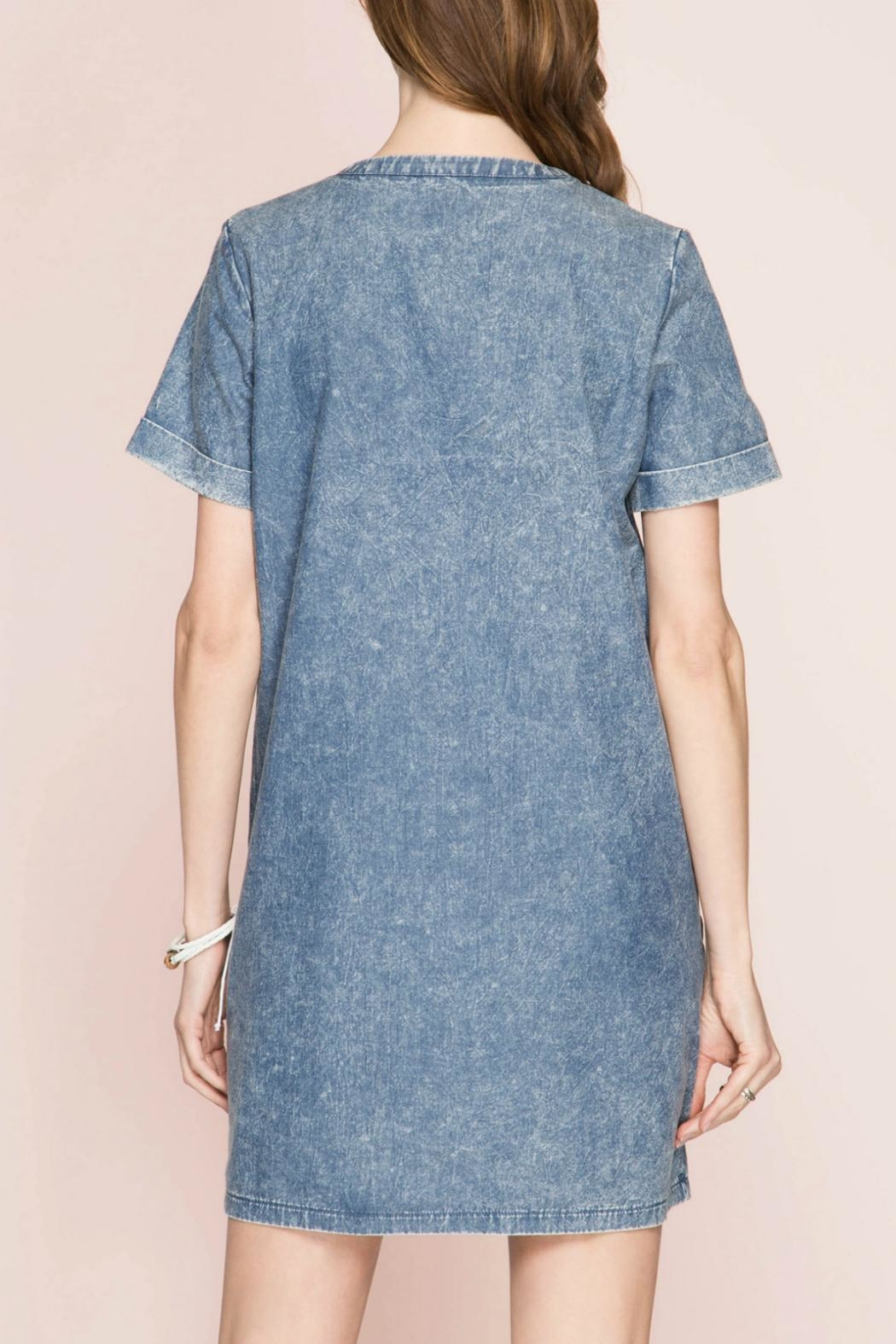She + Sky Lace Up Denim Dress - Side Cropped Image