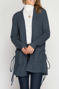She + Sky Lace-Up Knit Cardigan - Product List Image
