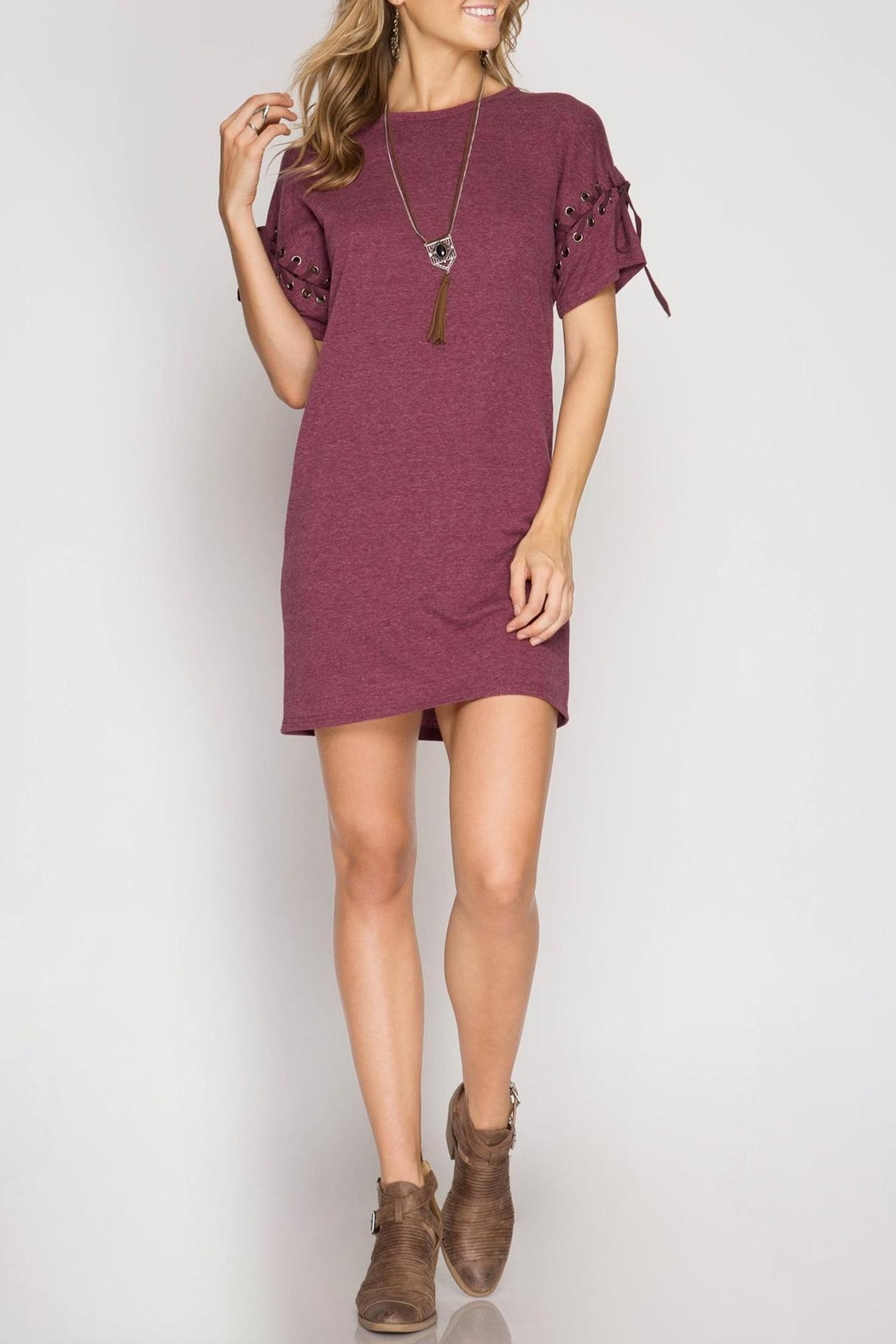 She + Sky Lace Up Shift Dress - Front Cropped Image