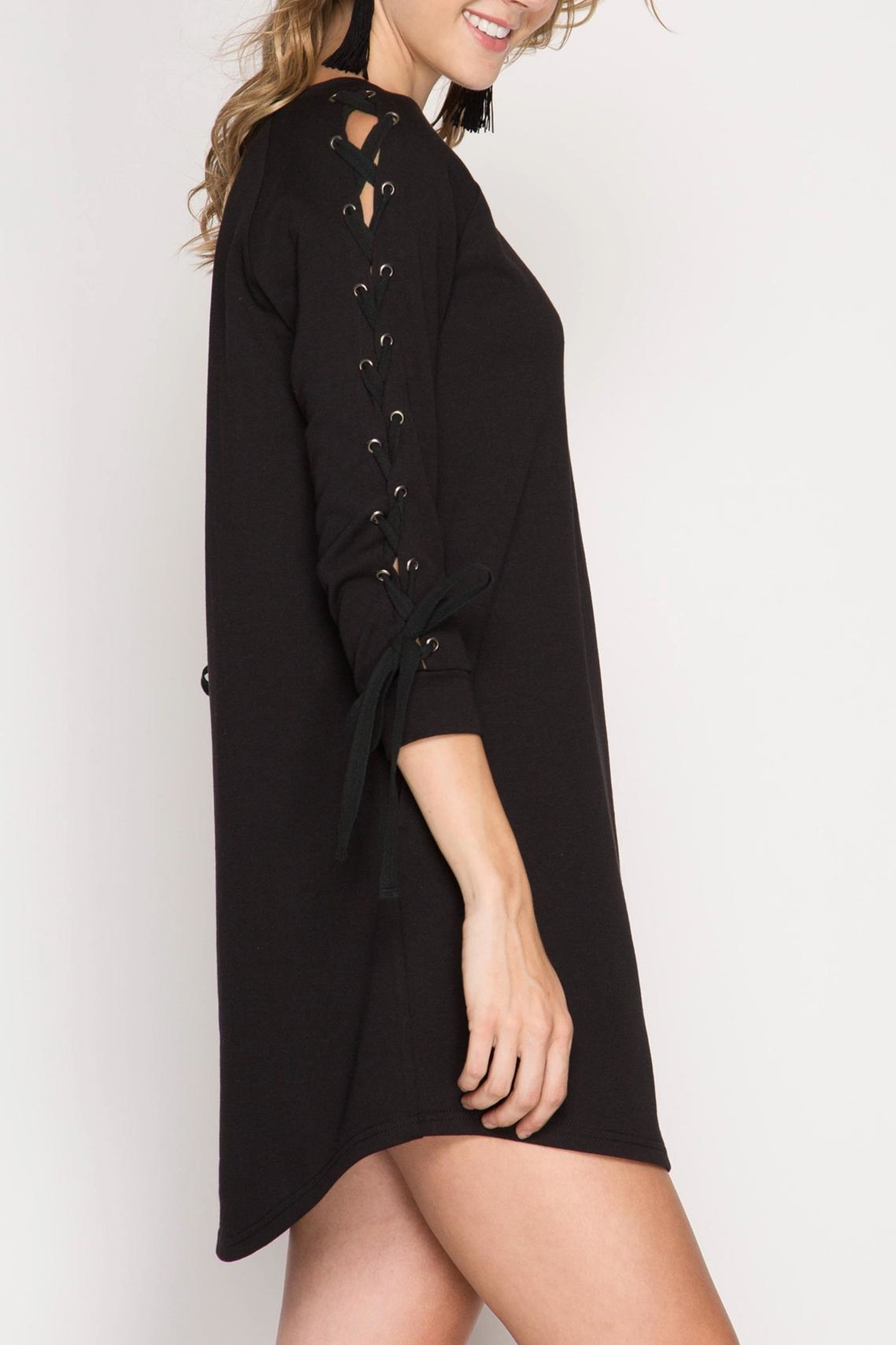 She + Sky Lace Up Sleeve Dress - Front Cropped Image