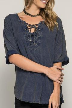 Shoptiques Product: Lace Up Stone Washed Top