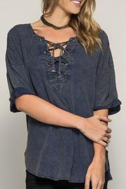 Lace Up Stone Washed Top
