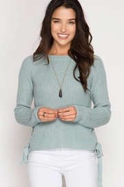 She + Sky Lace Up Sweater - Product Mini Image