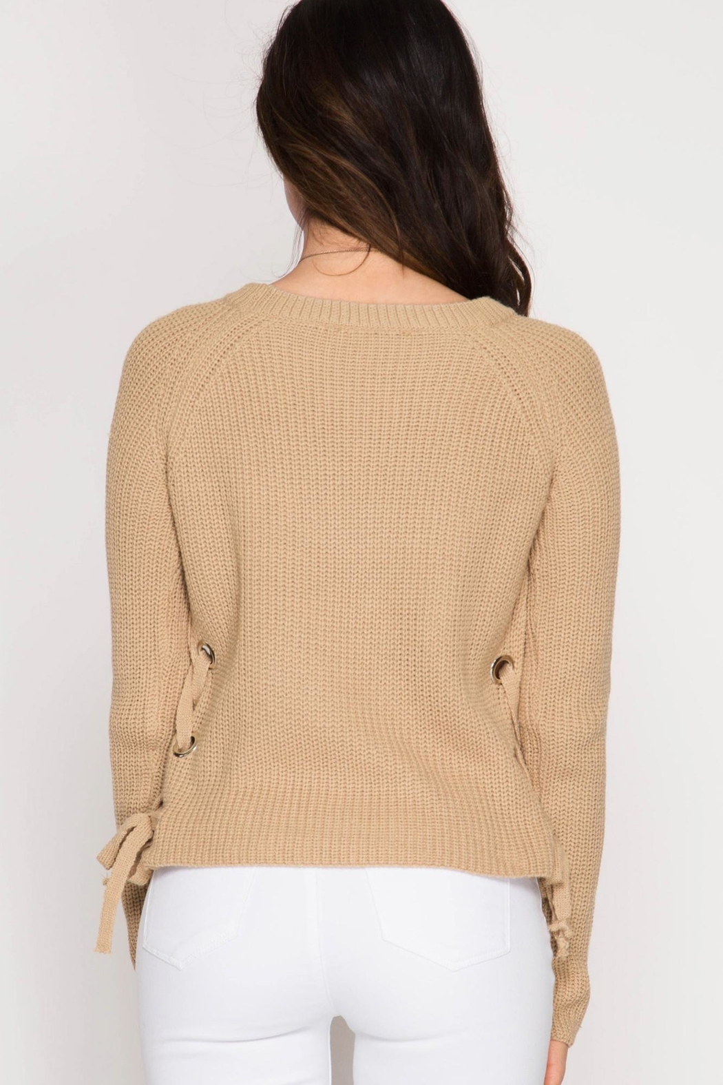 She + Sky Lace Up Sweater - Front Full Image