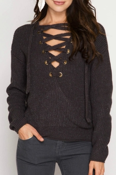 She + Sky Lace Up Sweater Top - Product List Image