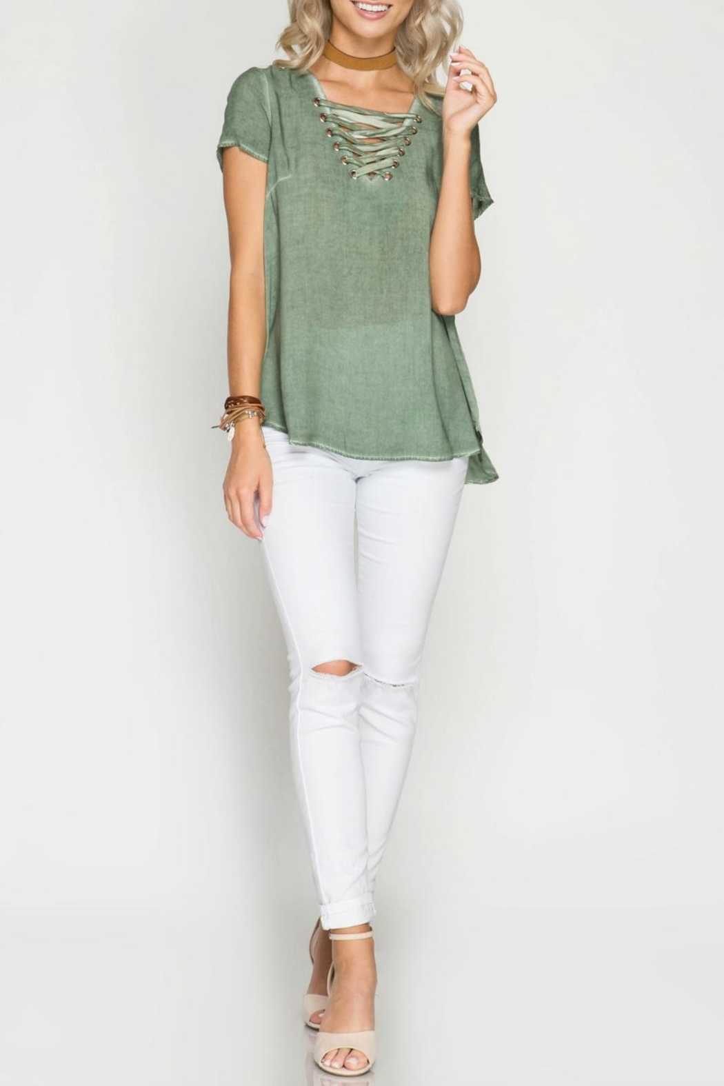 She + Sky Lace Up Top - Main Image