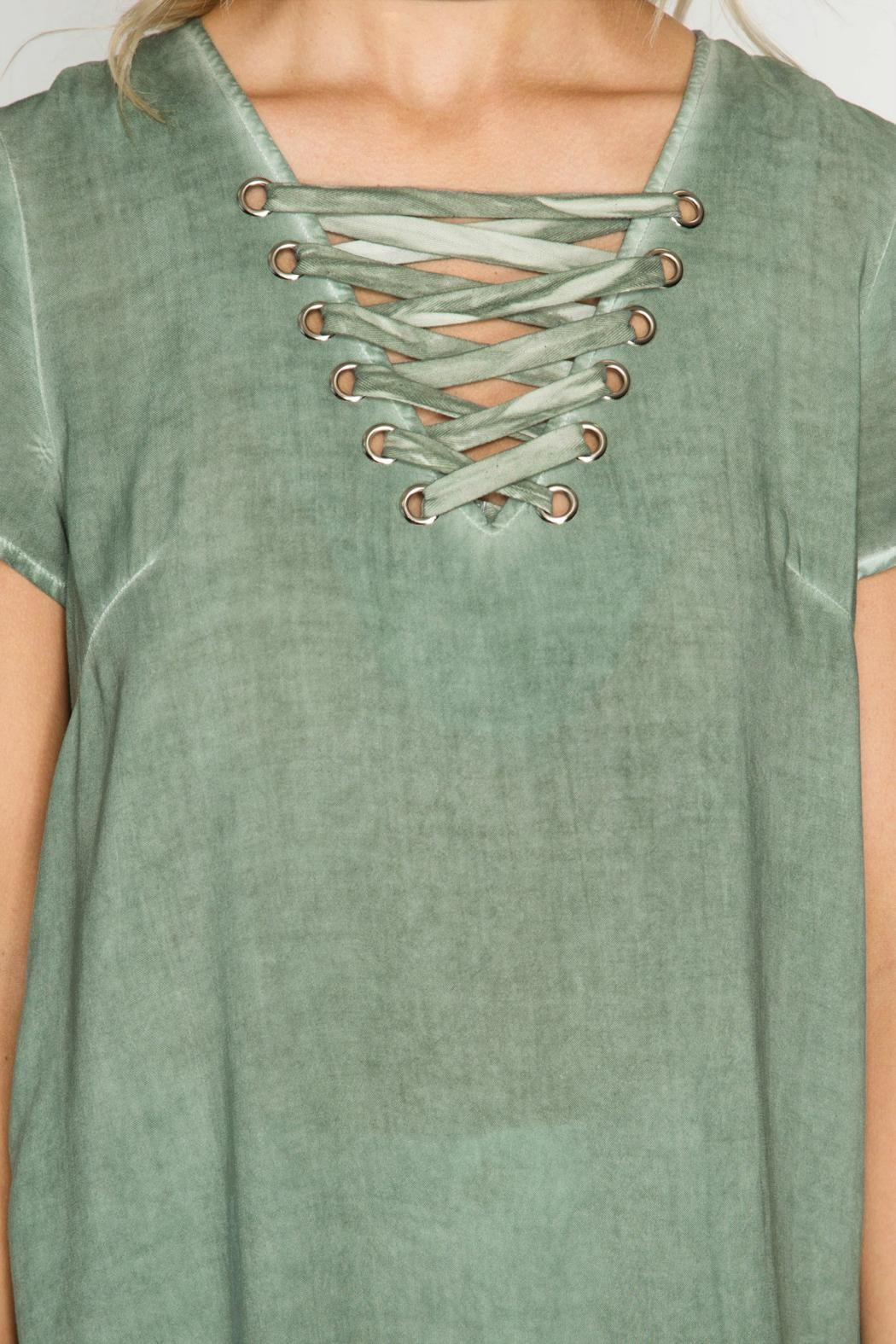 She + Sky Lace Up Top - Side Cropped Image
