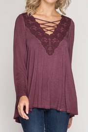 She + Sky Lace V-Neck Top - Product Mini Image