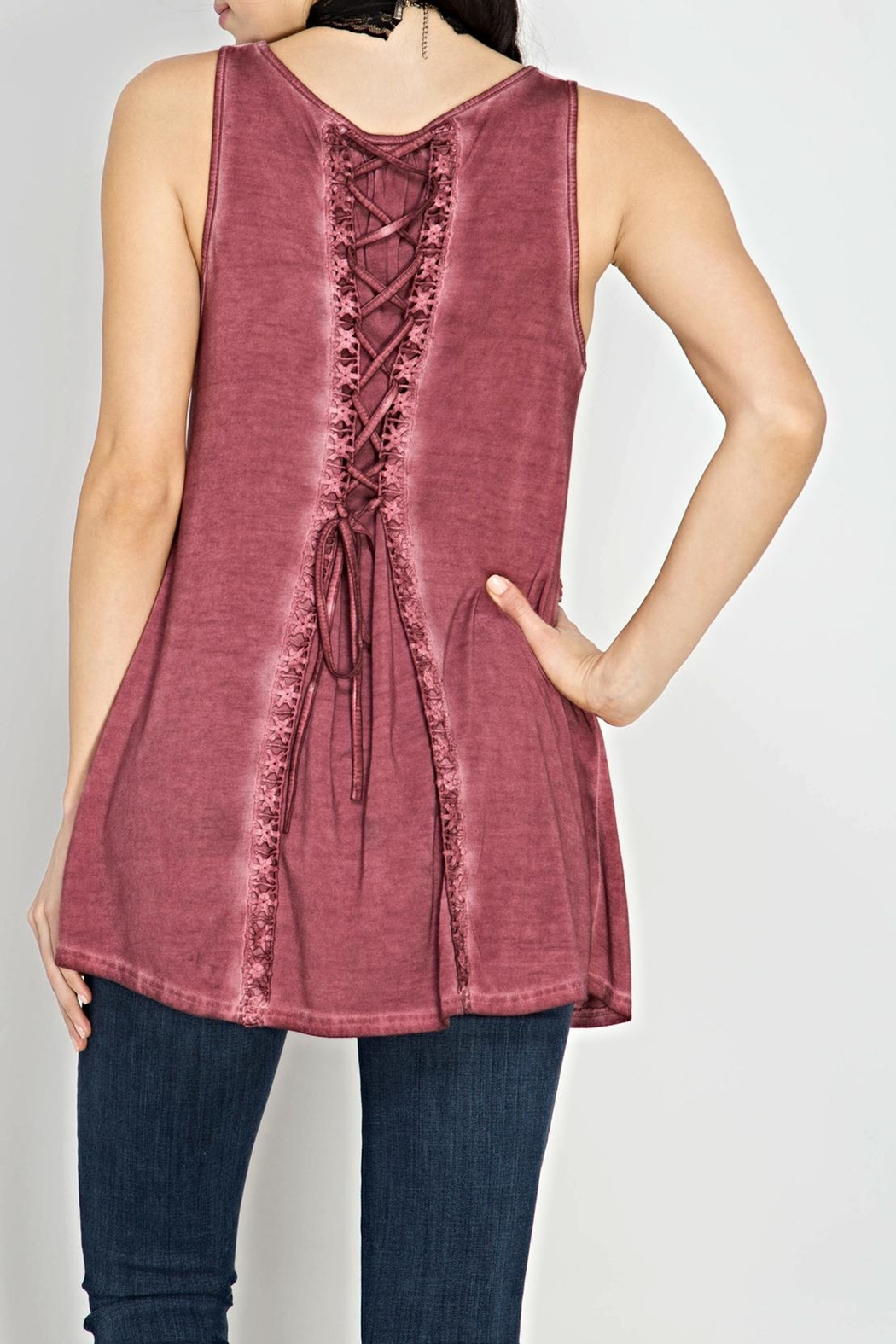 She + Sky Lace Back Sleeveless Top - Front Full Image