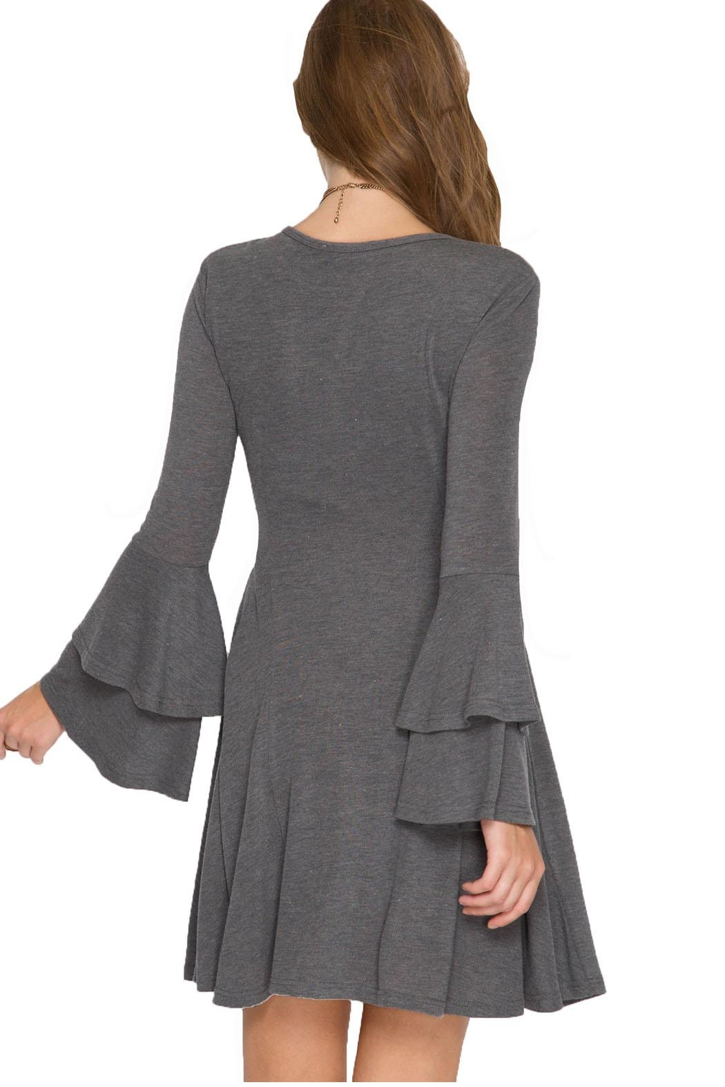 She + Sky Layered Bell Sleeve Dress - Front Full Image
