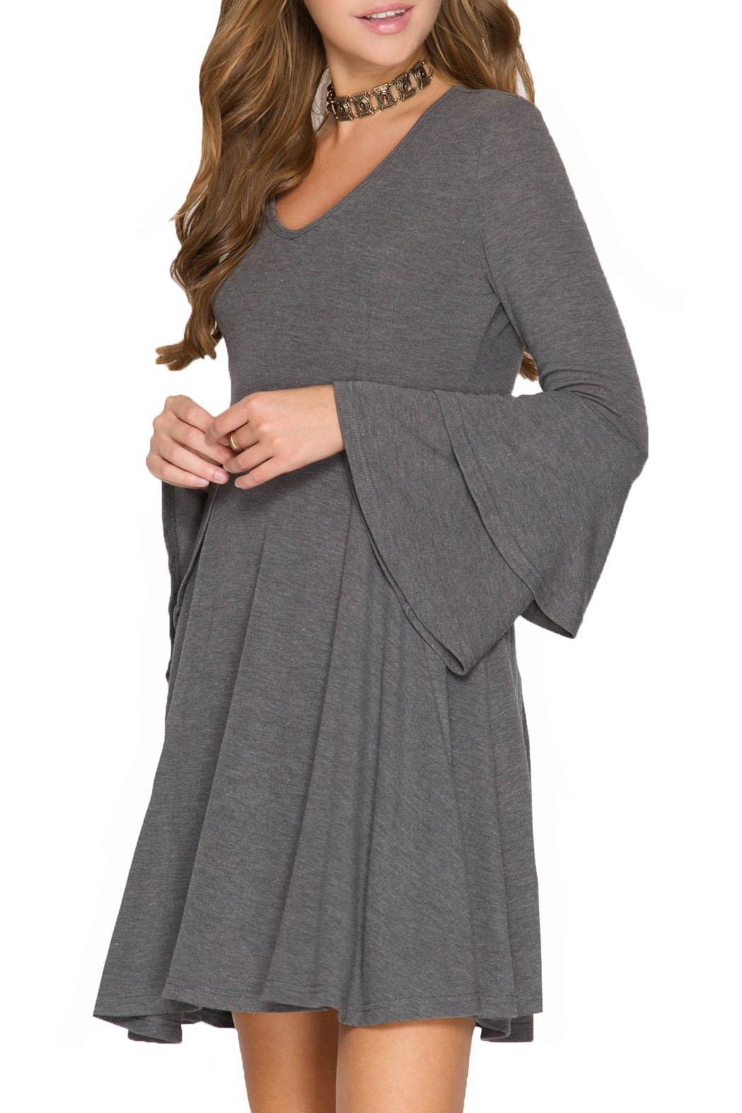 She + Sky Layered Bell Sleeve Dress - Front Cropped Image