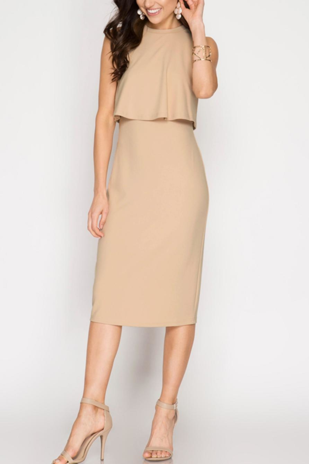 She + Sky Layered Bodycon Dress - Front Cropped Image