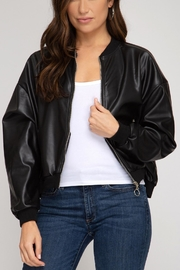 She + Sky Leather Bomber Jacket - Product Mini Image